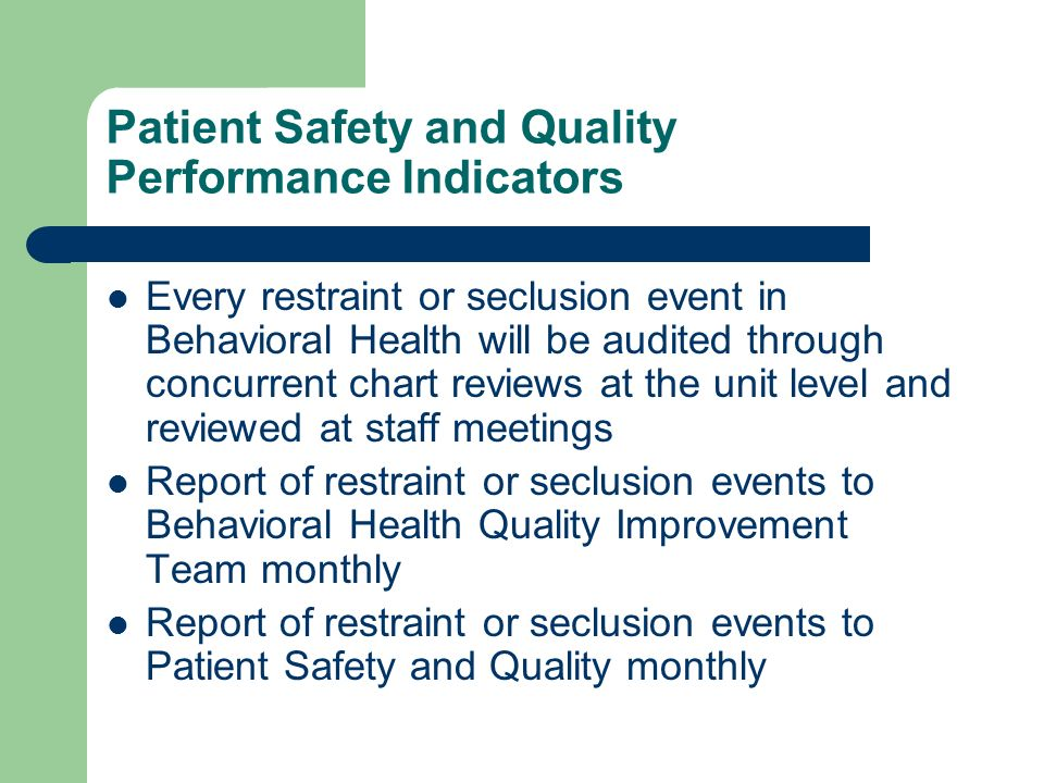 Patient Safety and Quality Performance Indicators