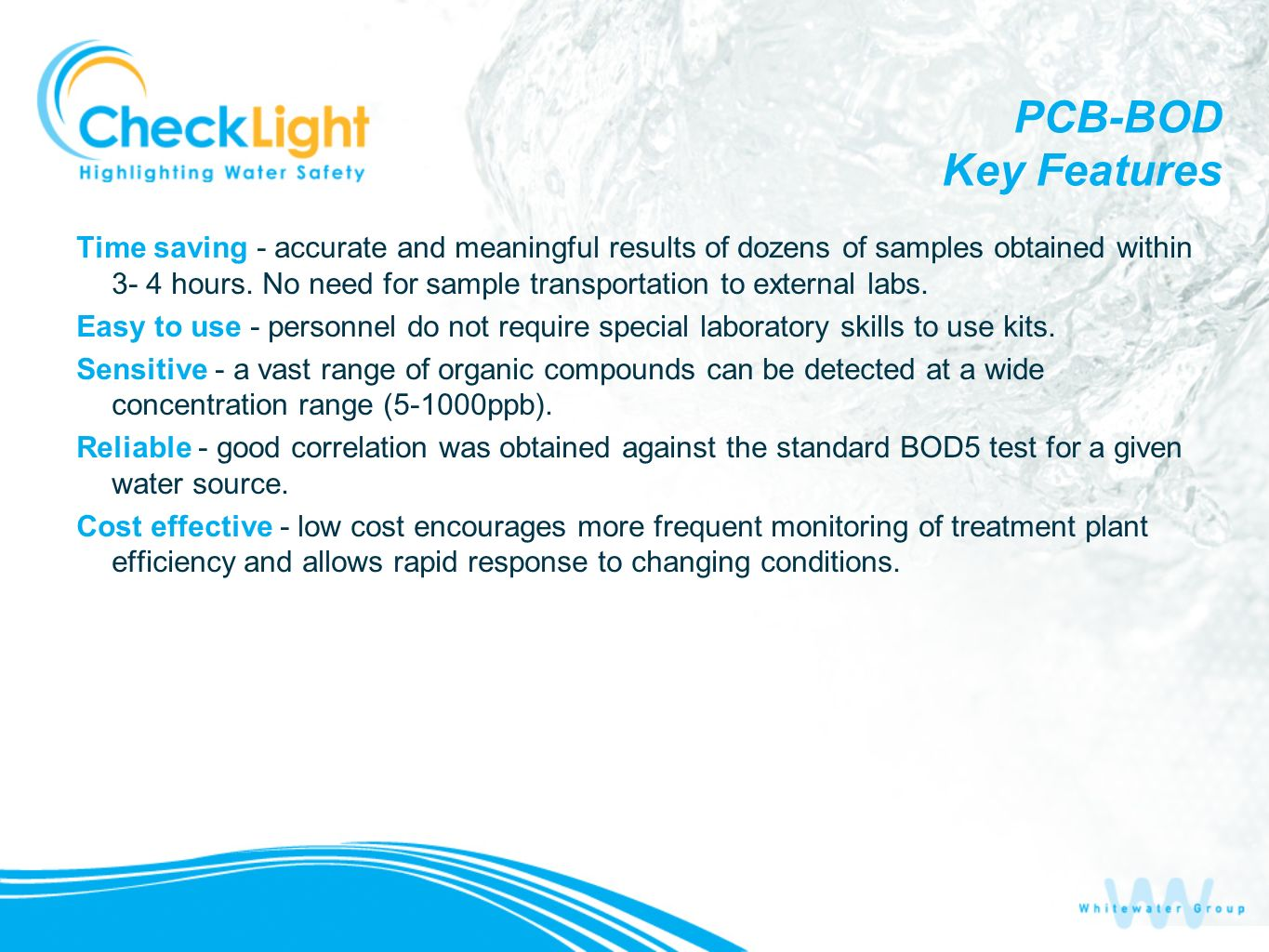 PCB-BOD Key Features