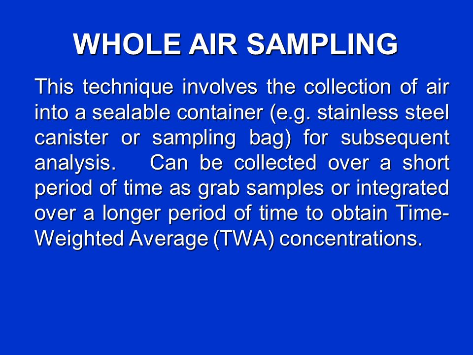 WHOLE AIR SAMPLING