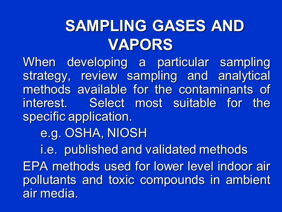 SAMPLING GASES AND VAPORS