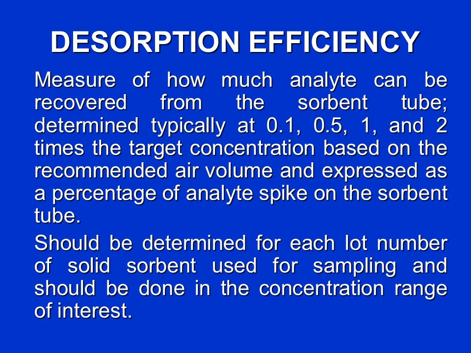 DESORPTION EFFICIENCY