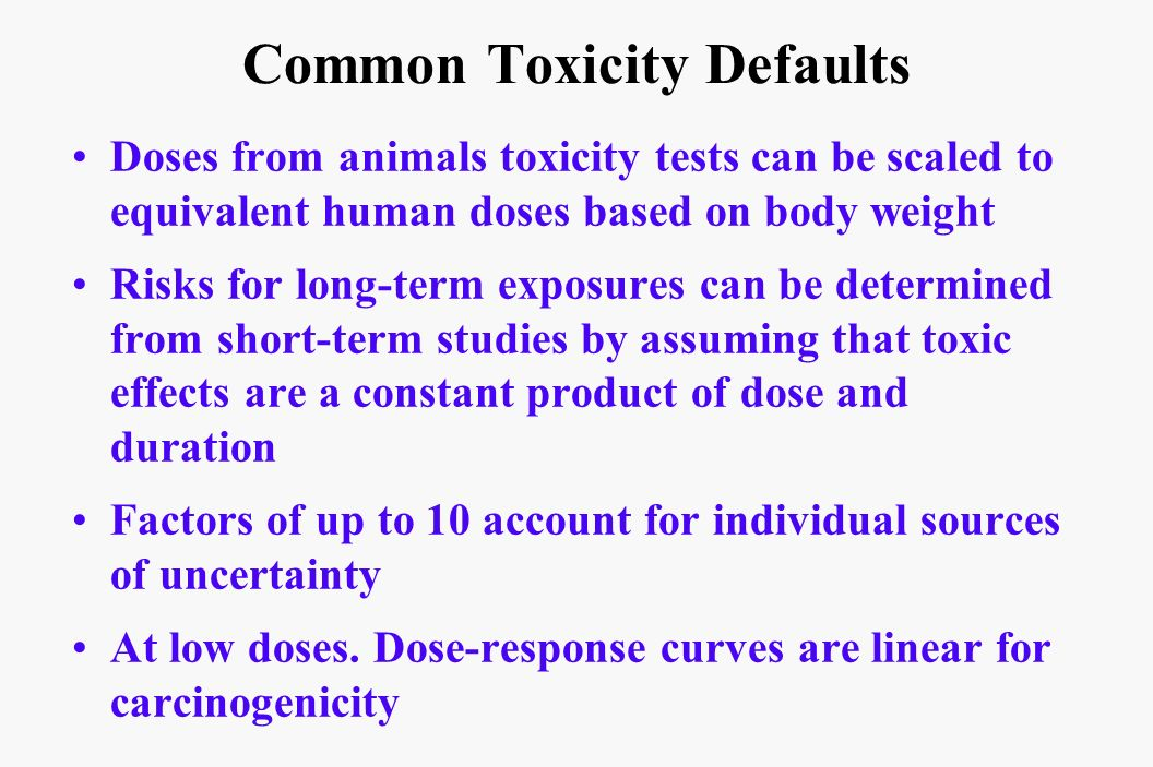 Common Toxicity Defaults