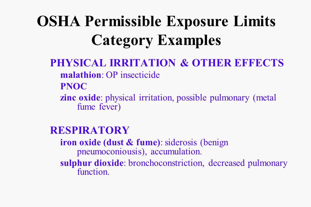 OSHA Permissible Exposure Limits