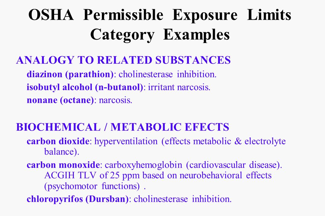 OSHA Permissible Exposure Limits Category Examples