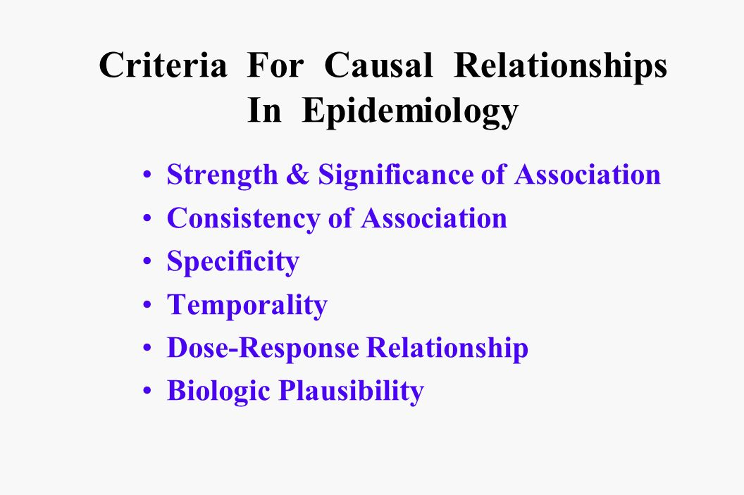 Criteria For Causal Relationships In Epidemiology