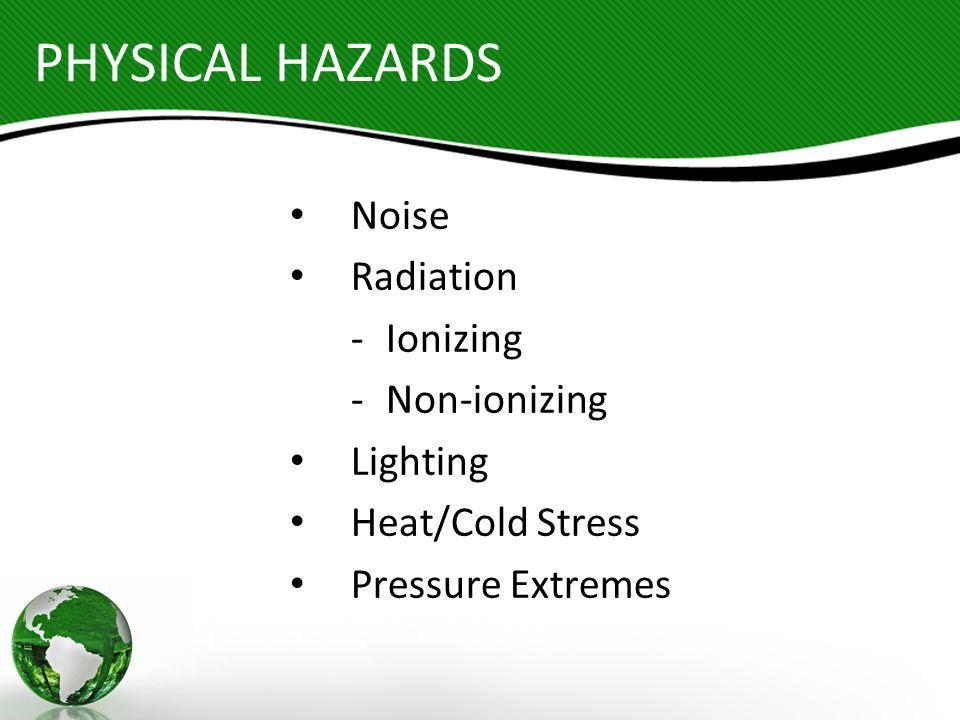PHYSICAL HAZARDS Noise Radiation - Ionizing - Non-ionizing Lighting