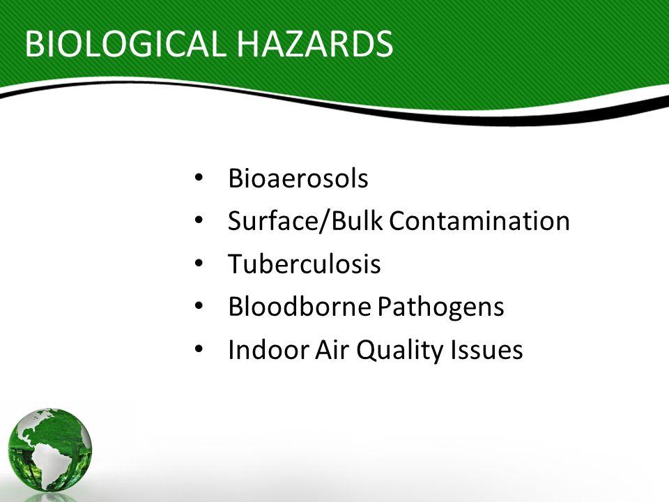 BIOLOGICAL HAZARDS Bioaerosols Surface/Bulk Contamination Tuberculosis