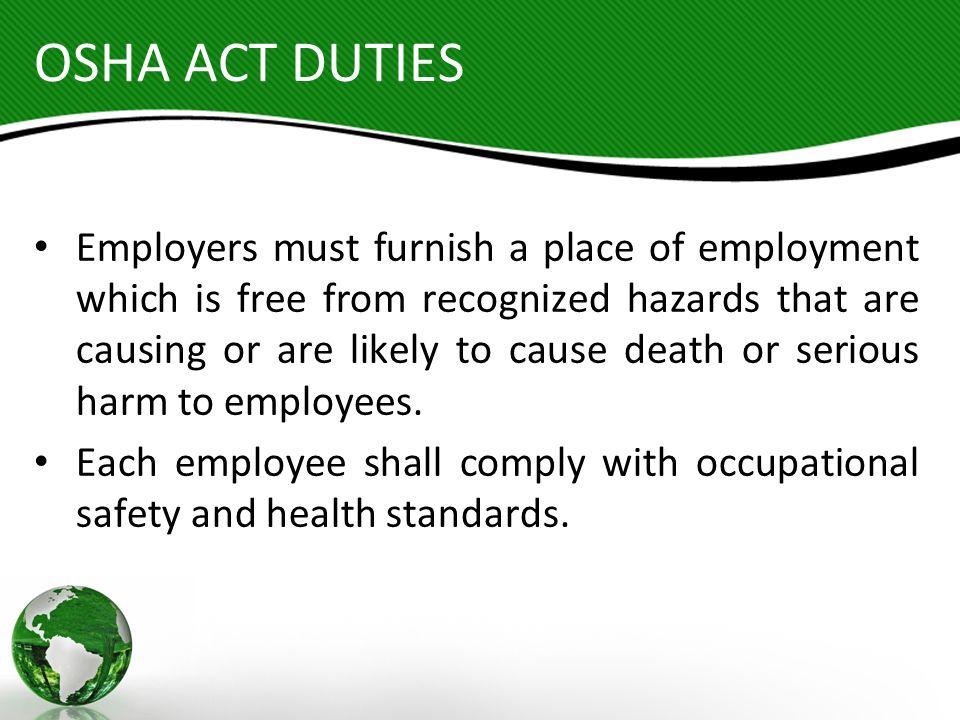 OSHA ACT DUTIES