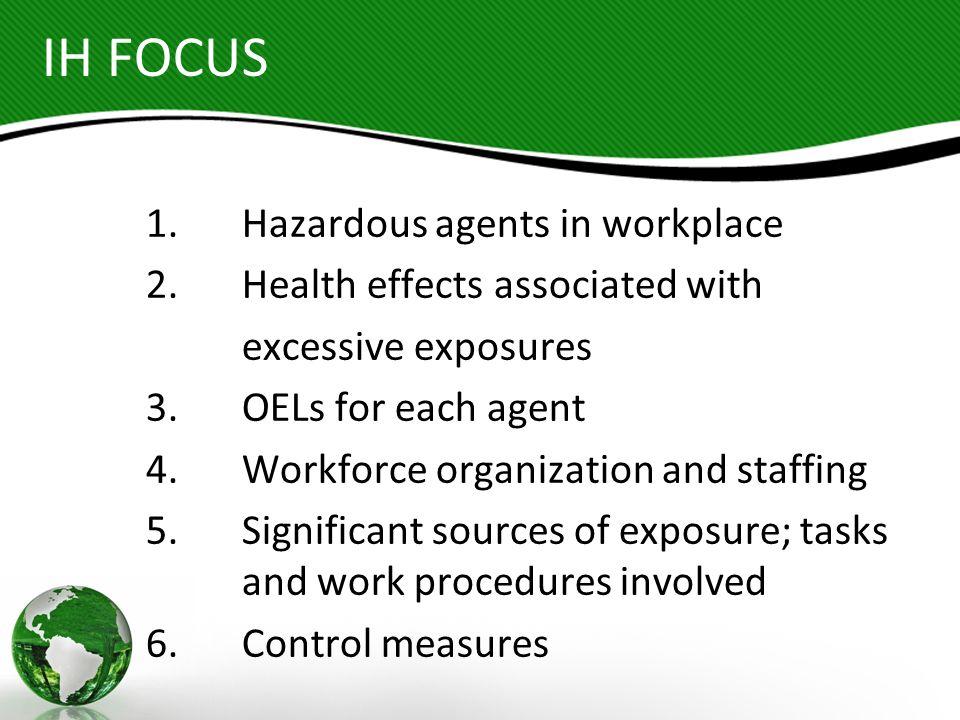 IH FOCUS 1. Hazardous agents in workplace