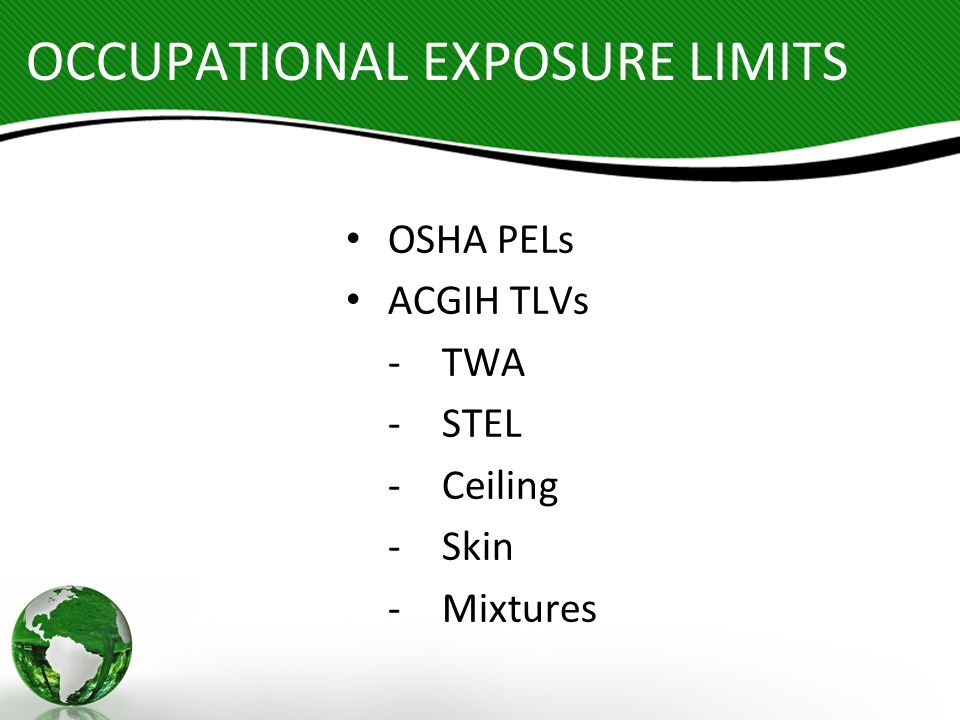 OCCUPATIONAL EXPOSURE LIMITS