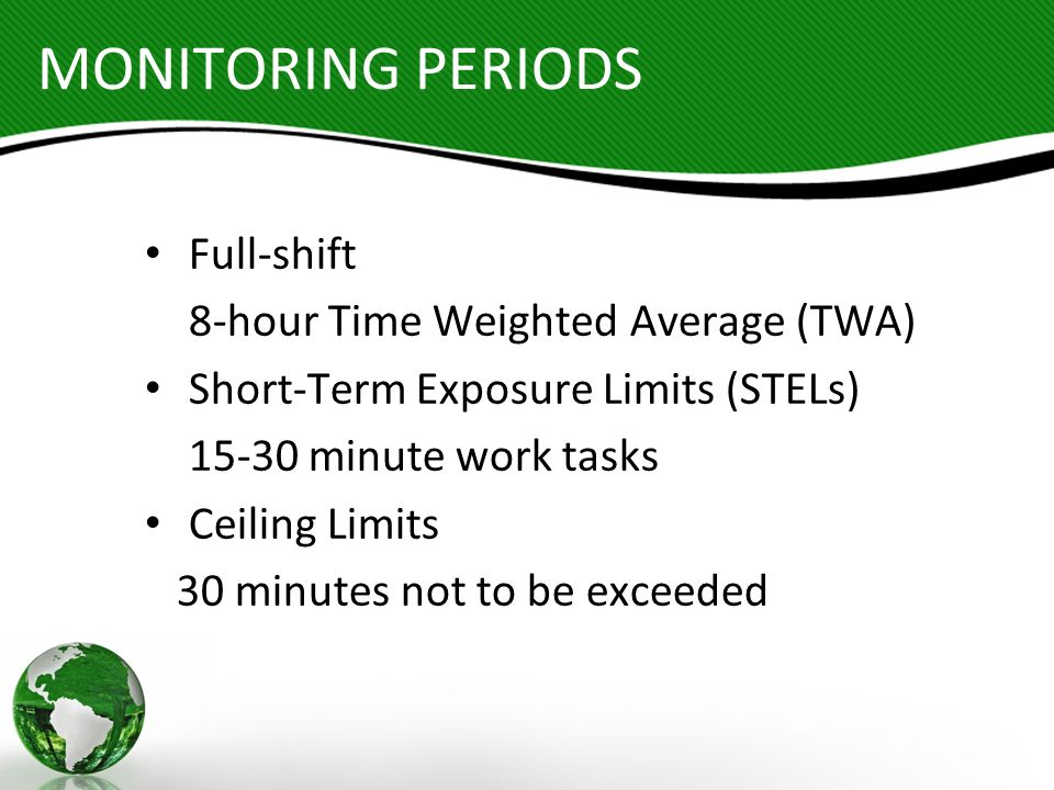 MONITORING PERIODS Full-shift 8-hour Time Weighted Average (TWA)