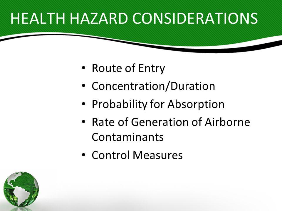 HEALTH HAZARD CONSIDERATIONS