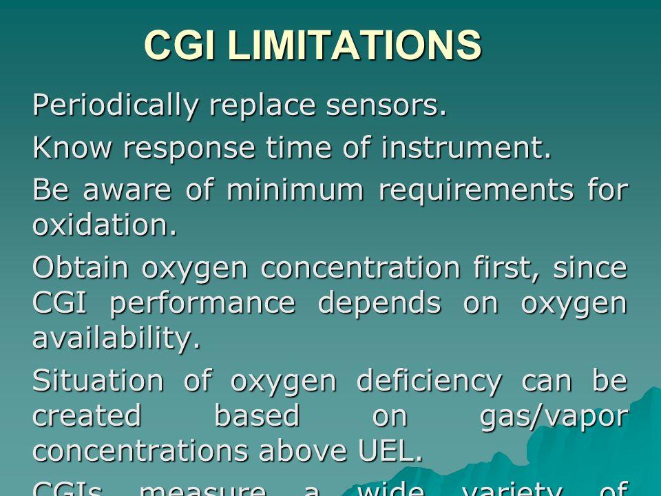 CGI LIMITATIONS Periodically replace sensors.