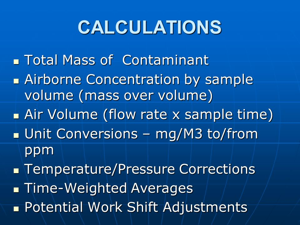 CALCULATIONS Total Mass of Contaminant