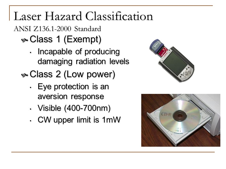 Laser Hazard Classification ANSI Z Standard