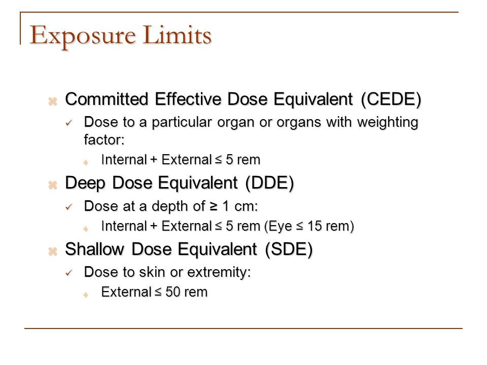 Exposure Limits Committed Effective Dose Equivalent (CEDE)