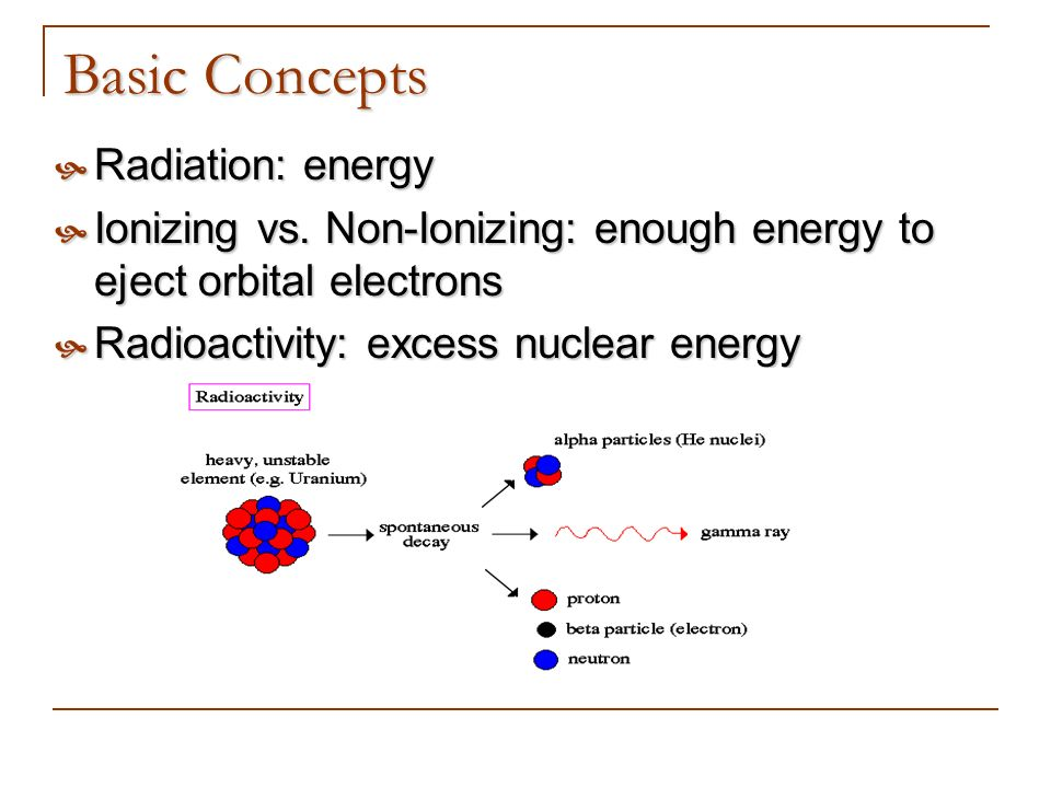 Basic Concepts Radiation: energy