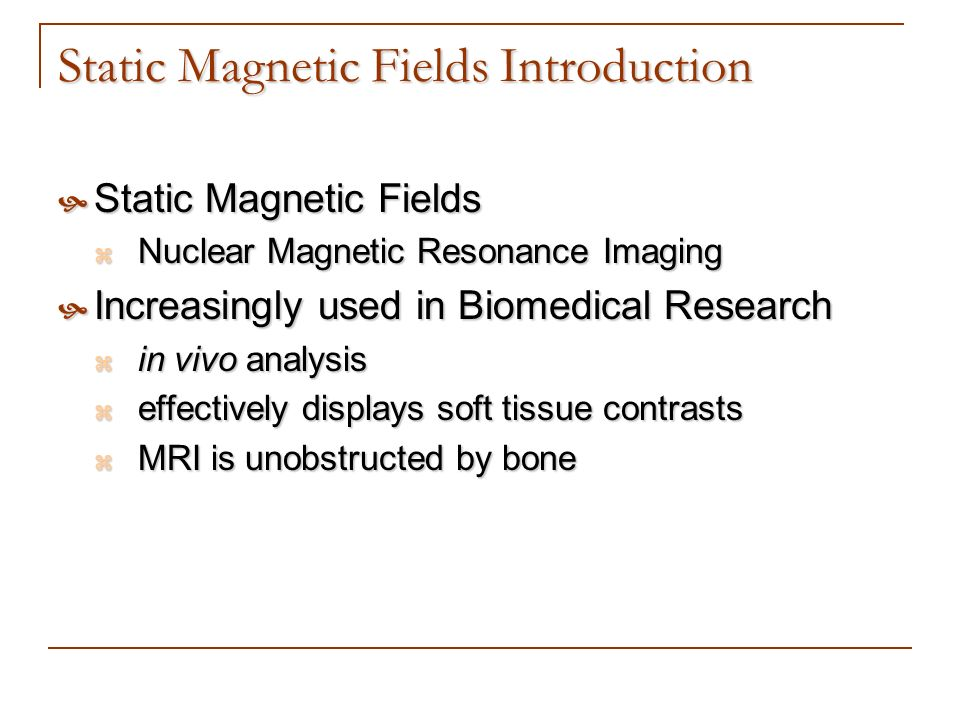 Static Magnetic Fields Introduction