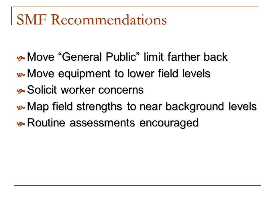 SMF Recommendations Move General Public limit farther back