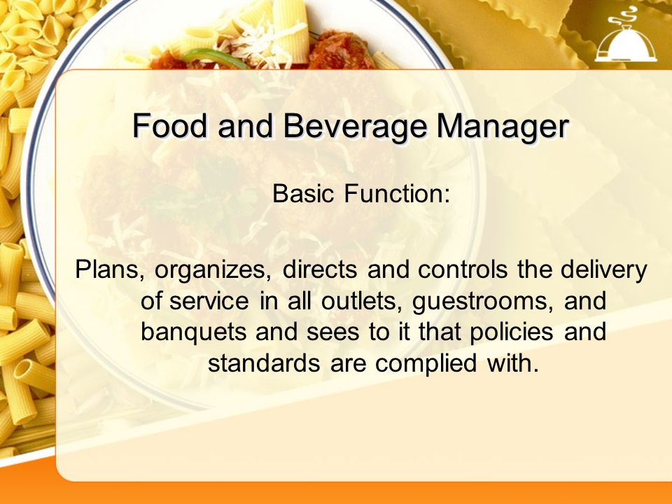 the purpose of food and beverage According to statistics canada, the food and beverage sector comprises   group, can be further divided based on their purpose for visiting an f&b operator.