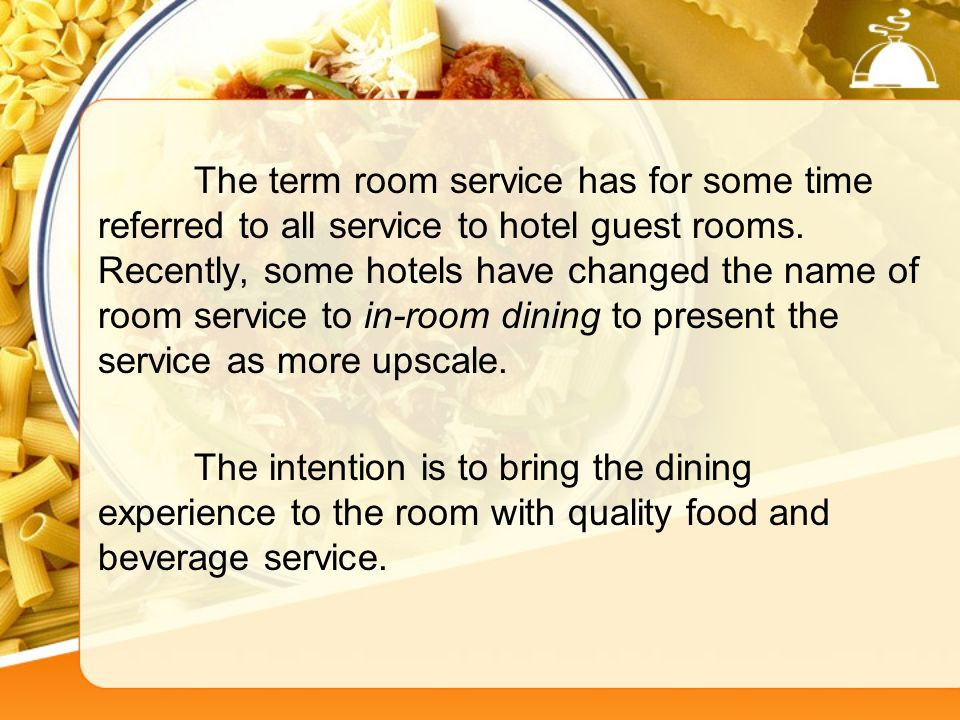 In room dining service ppt