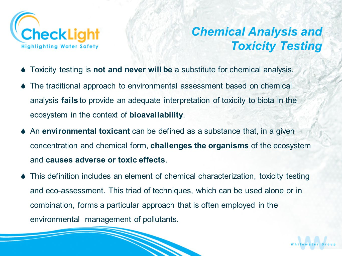Chemical Analysis and Toxicity Testing