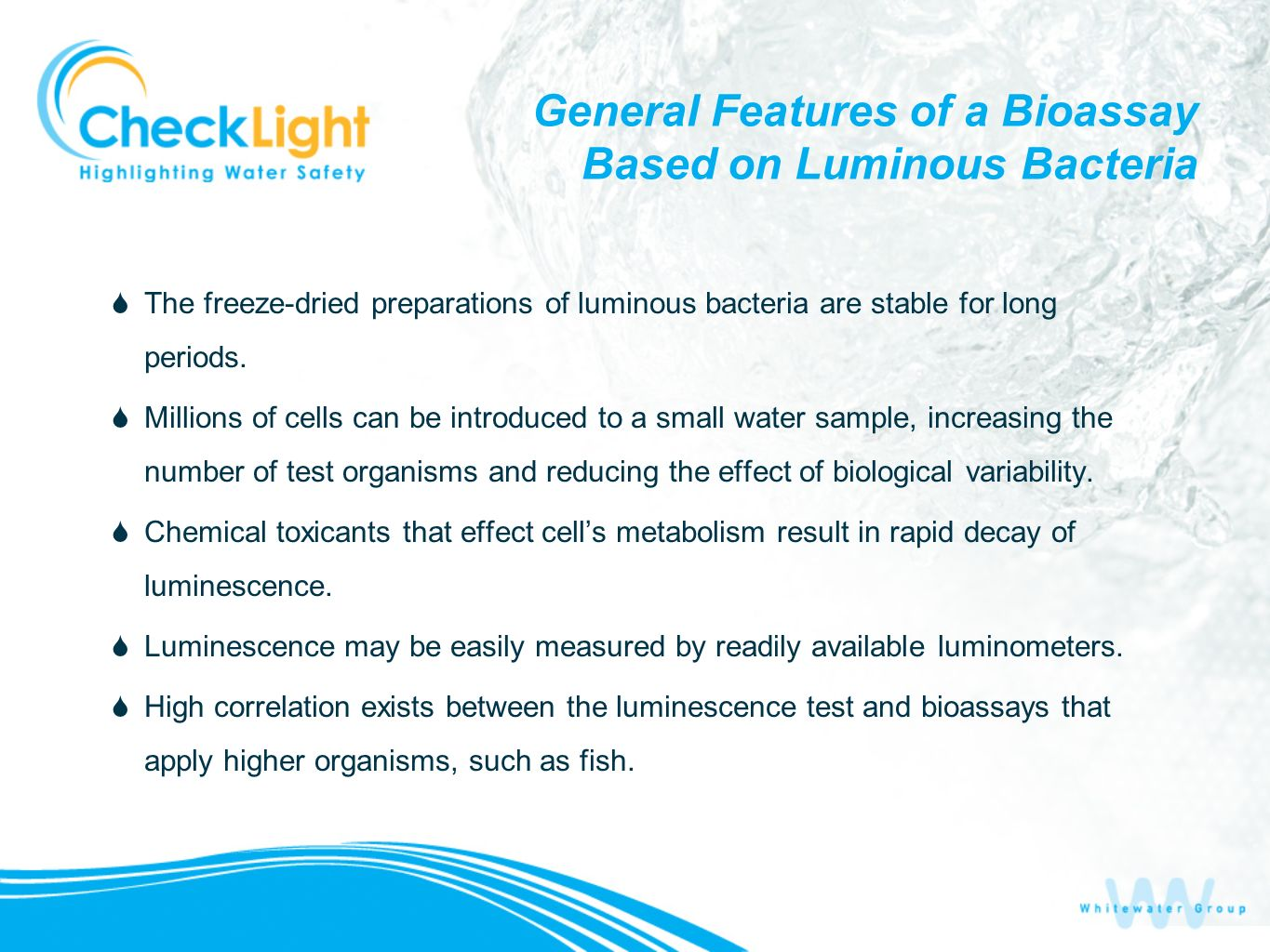 General Features of a Bioassay Based on Luminous Bacteria