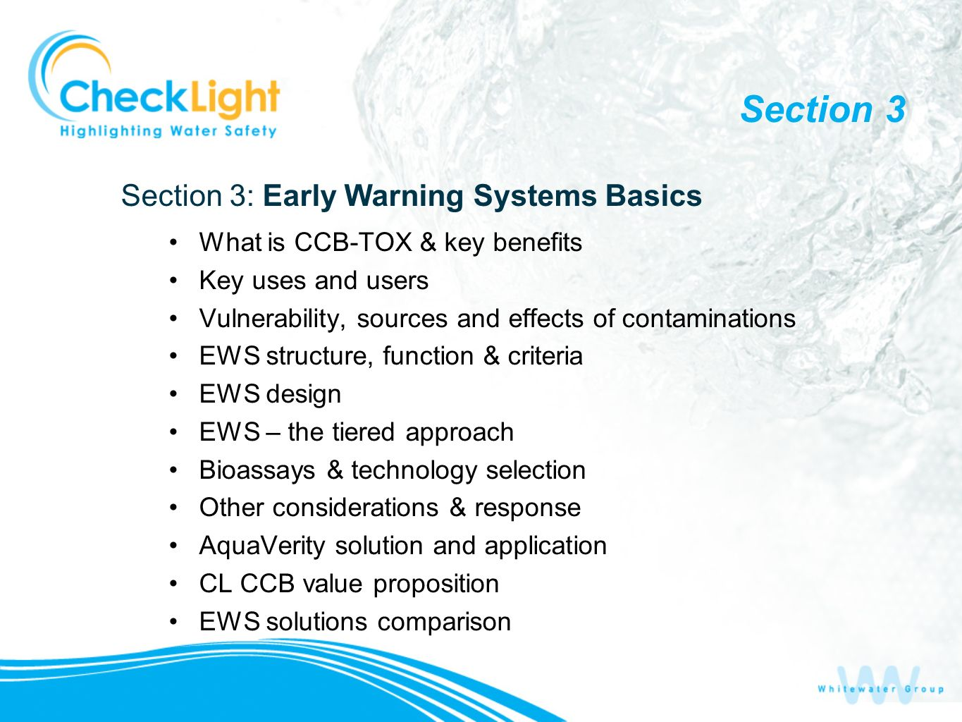 Section 3 Section 3: Early Warning Systems Basics