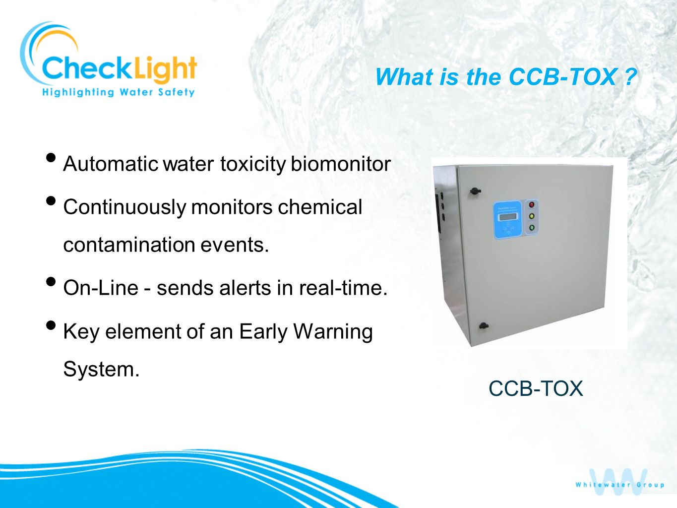 What is the CCB-TOX Automatic water toxicity biomonitor