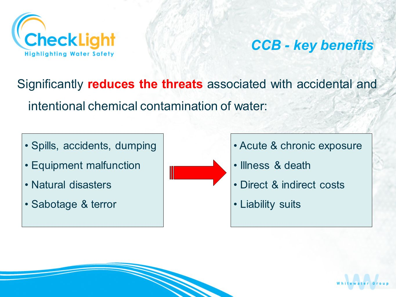 CCB - key benefits Significantly reduces the threats associated with accidental and intentional chemical contamination of water: