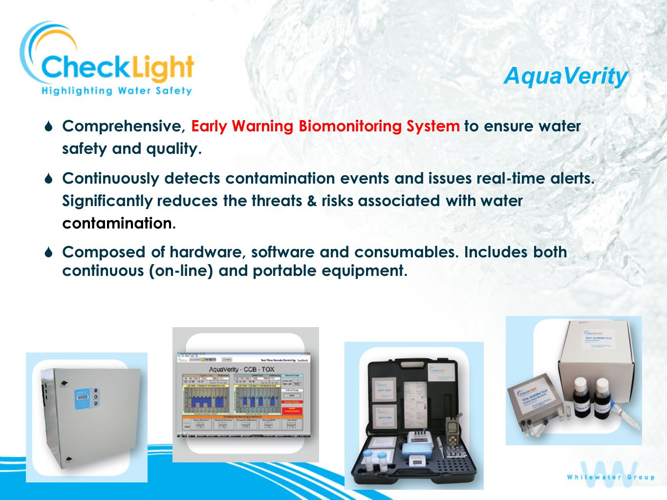 AquaVerity Comprehensive, Early Warning Biomonitoring System to ensure water safety and quality.