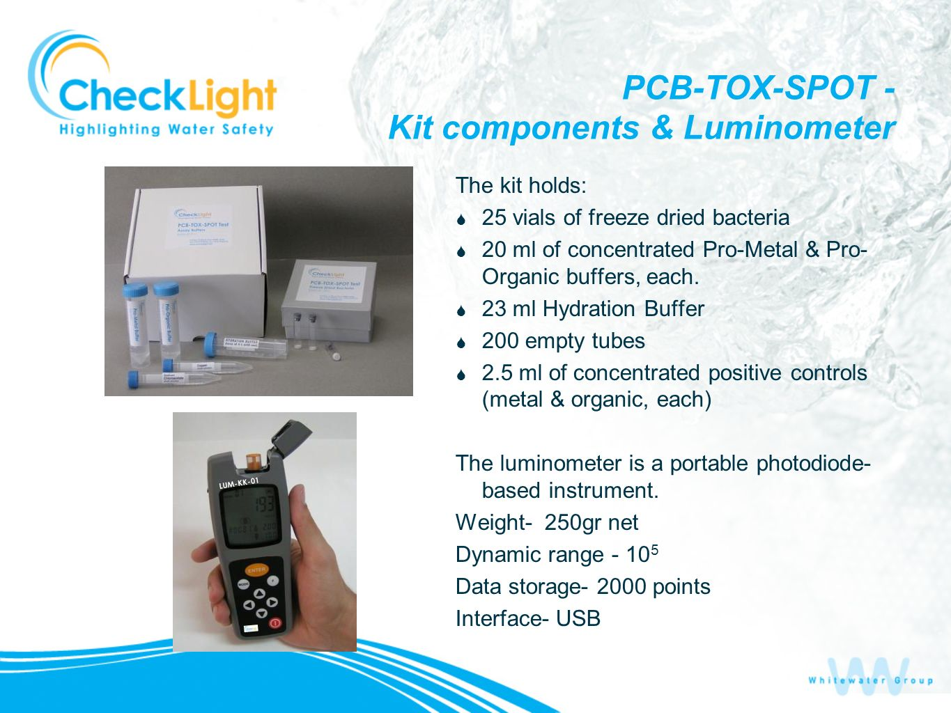 PCB-TOX-SPOT - Kit components & Luminometer