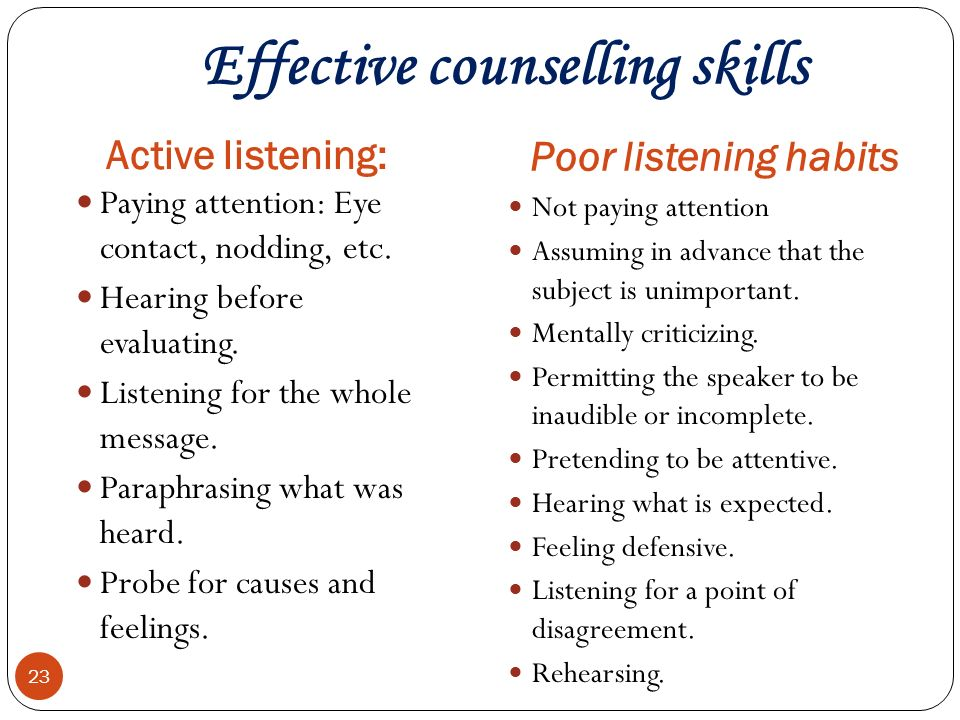 effective counseling Characteristics and behaviors of effective counseling in order for the counseling process to be effective for the client the characteristics and behaviors of the mental health counselor must be effective to be an effective mental health counselor the process must include both the art and science of helping.