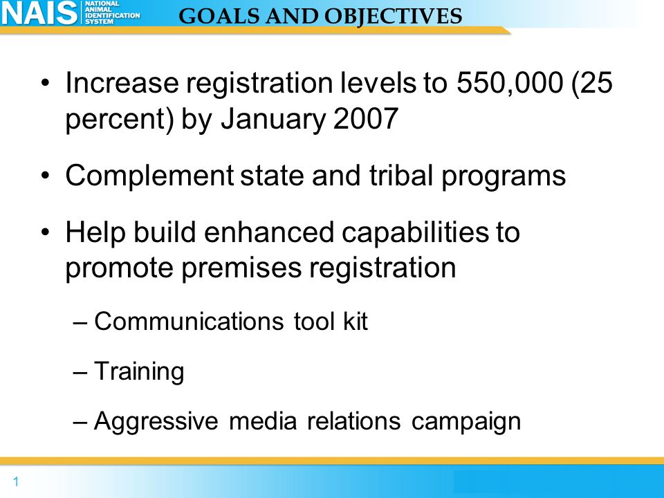 Increase registration levels to 550,000 (25 percent) by January 2007