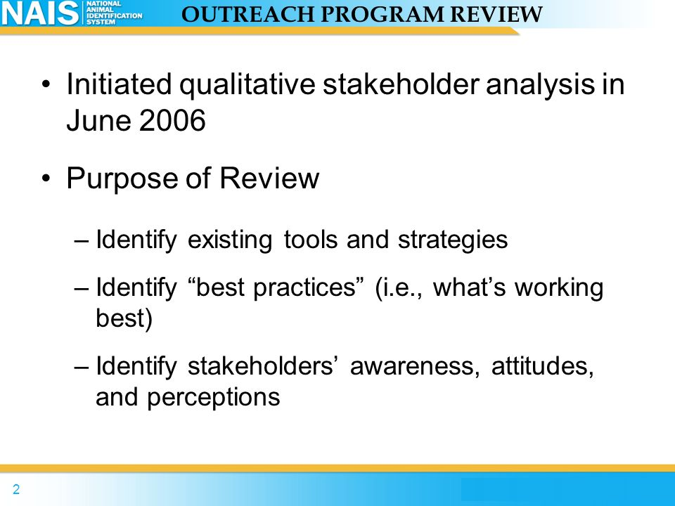 OUTREACH PROGRAM REVIEW