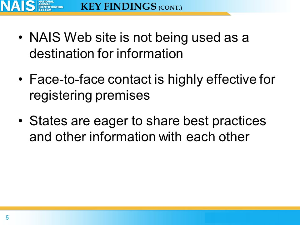 NAIS Web site is not being used as a destination for information