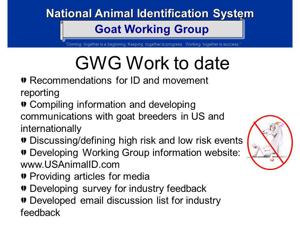 GWG Work to date Recommendations for ID and movement reporting
