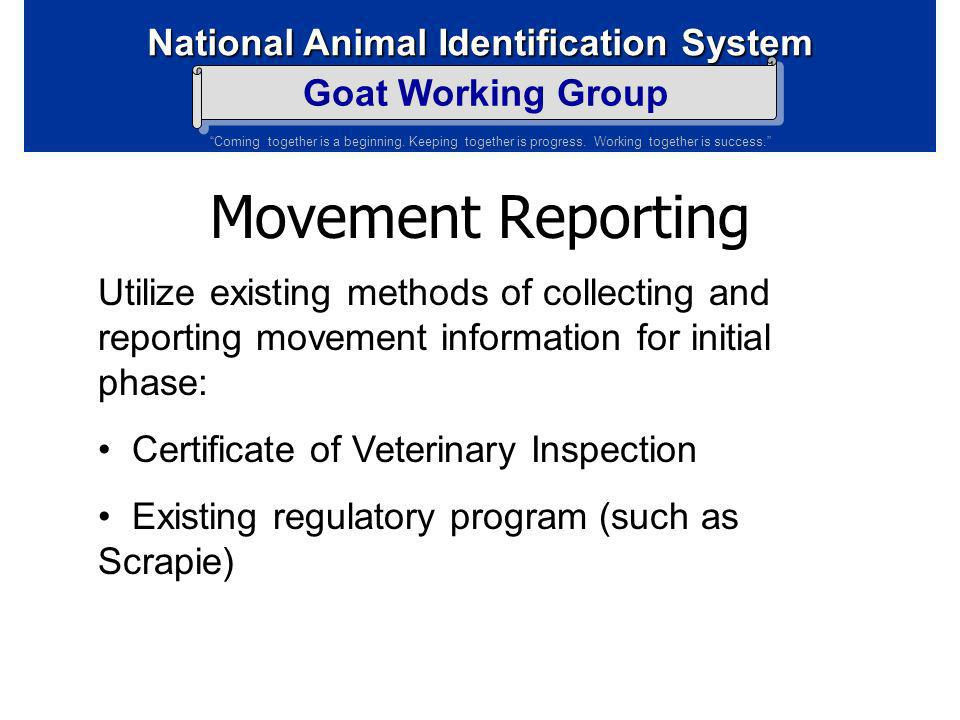 Movement Reporting Utilize existing methods of collecting and reporting movement information for initial phase: