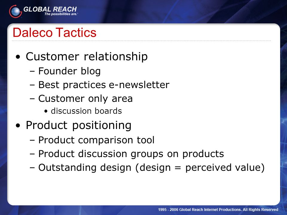 Daleco Tactics Customer relationship Product positioning Founder blog