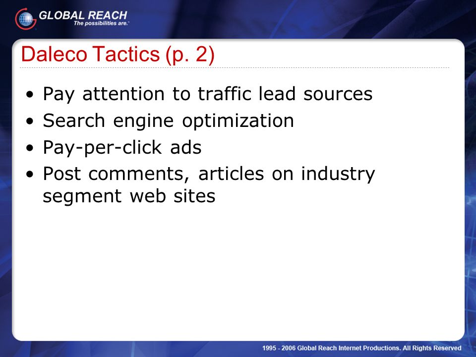 Daleco Tactics (p. 2) Pay attention to traffic lead sources