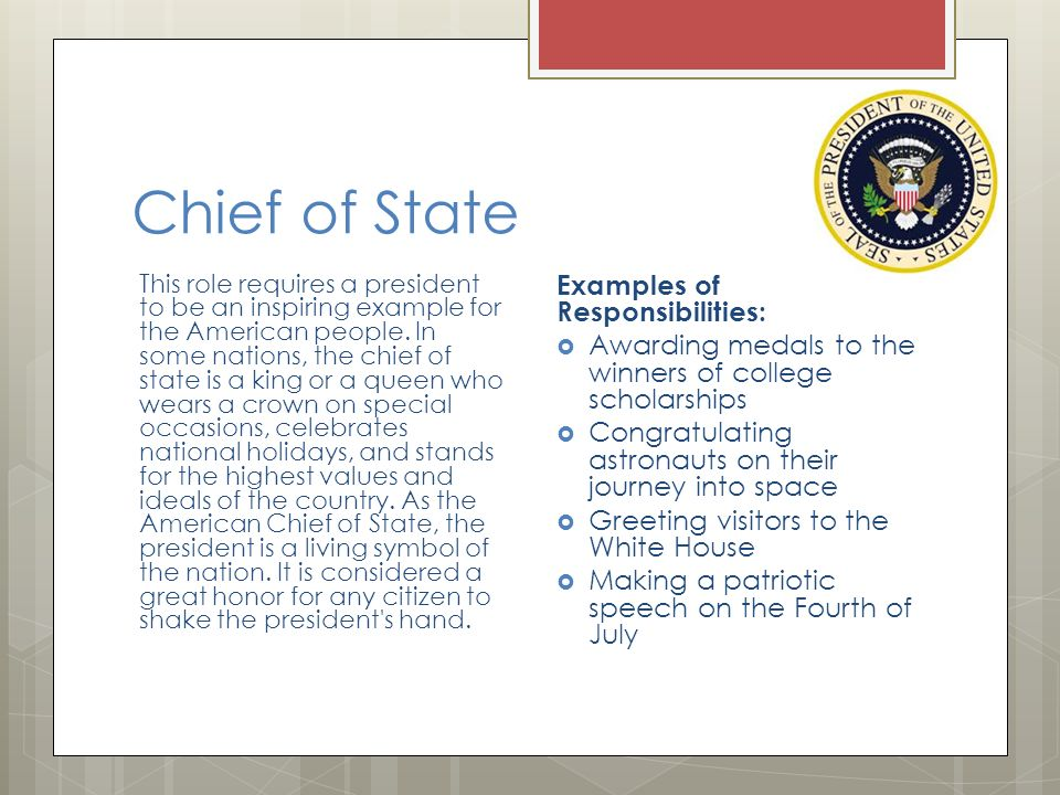 Responsibilities Of The President Ppt Download