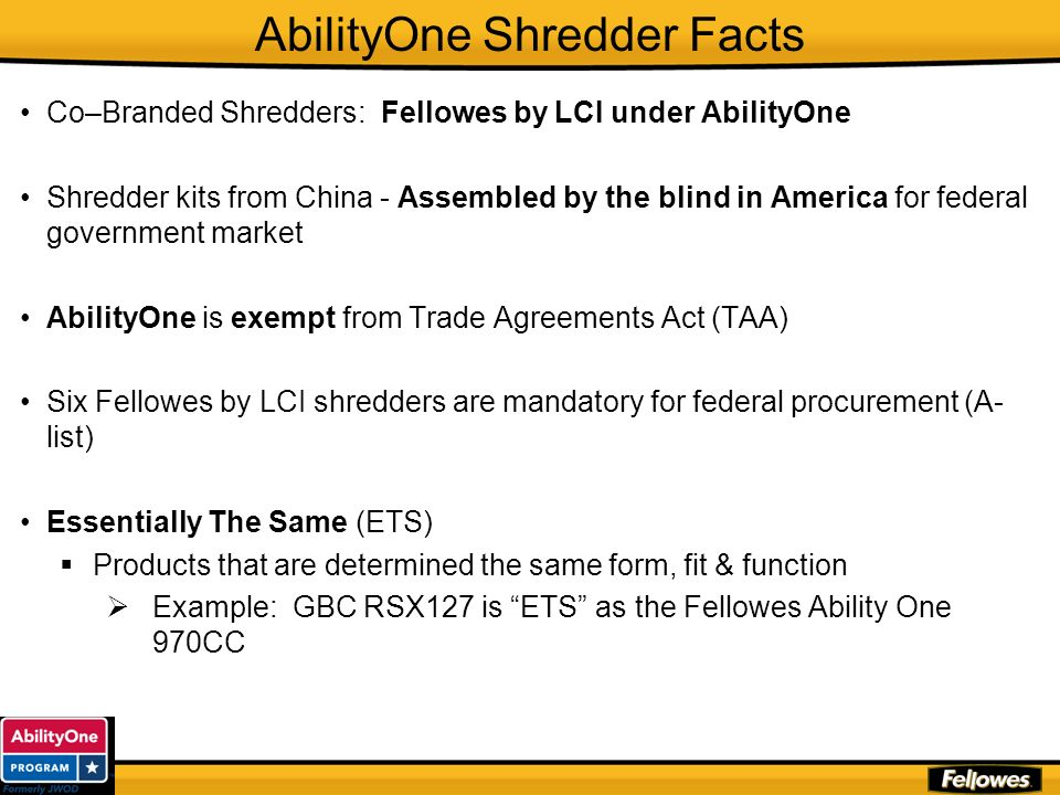 AbilityOne Shredder Facts