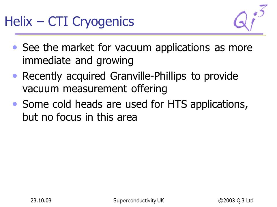 Helix – CTI Cryogenics See the market for vacuum applications as more immediate and growing.