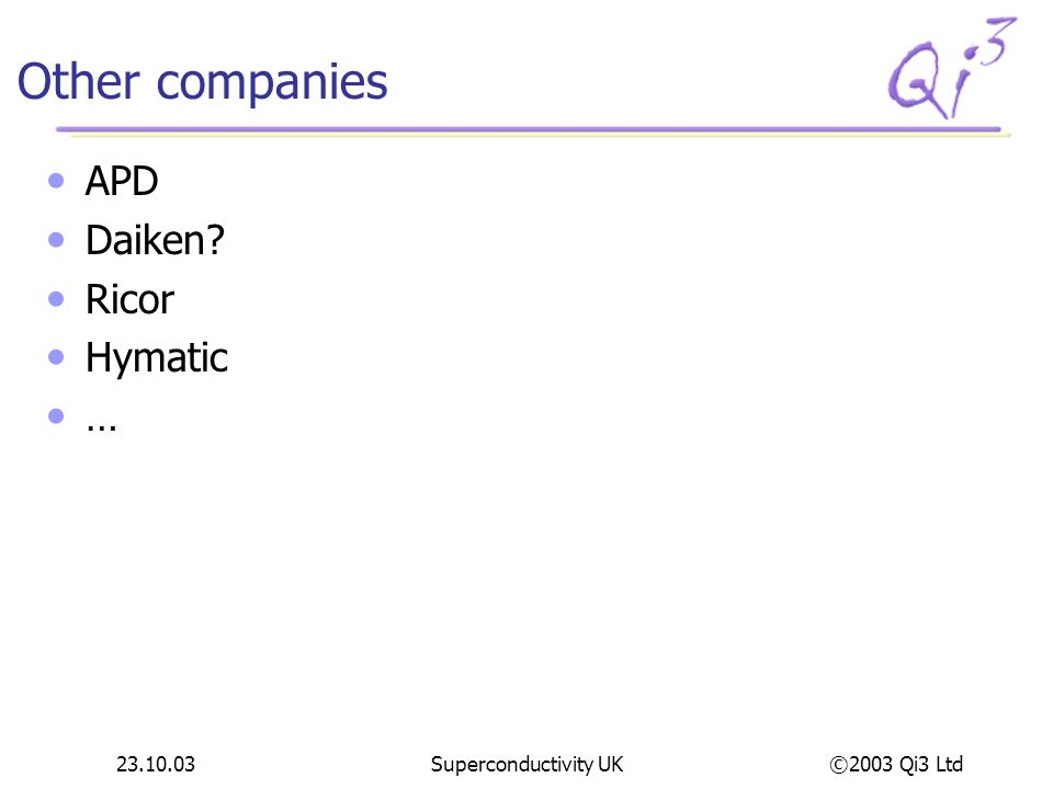 Other companies APD Daiken Ricor Hymatic … 23.10.03