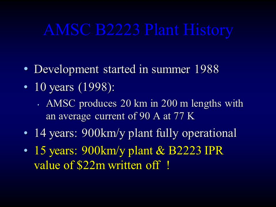 AMSC B2223 Plant History Development started in summer 1988