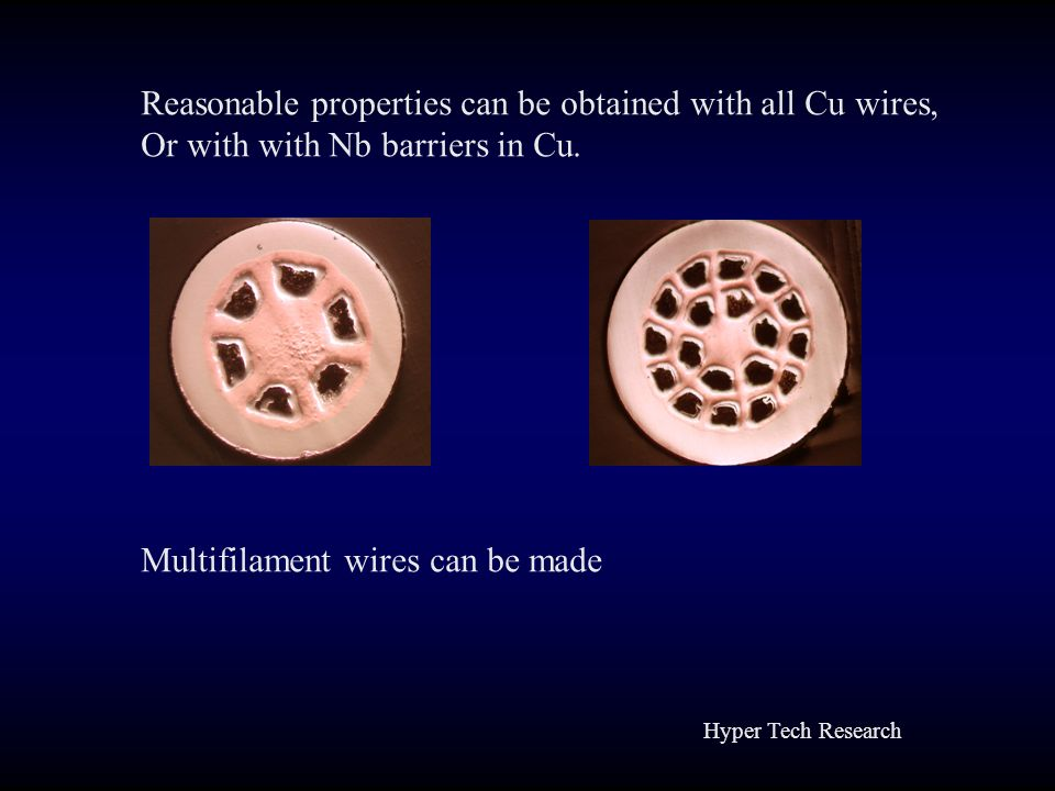 Reasonable properties can be obtained with all Cu wires,