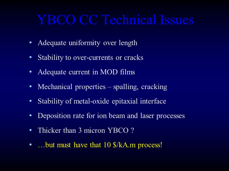 YBCO CC Technical Issues