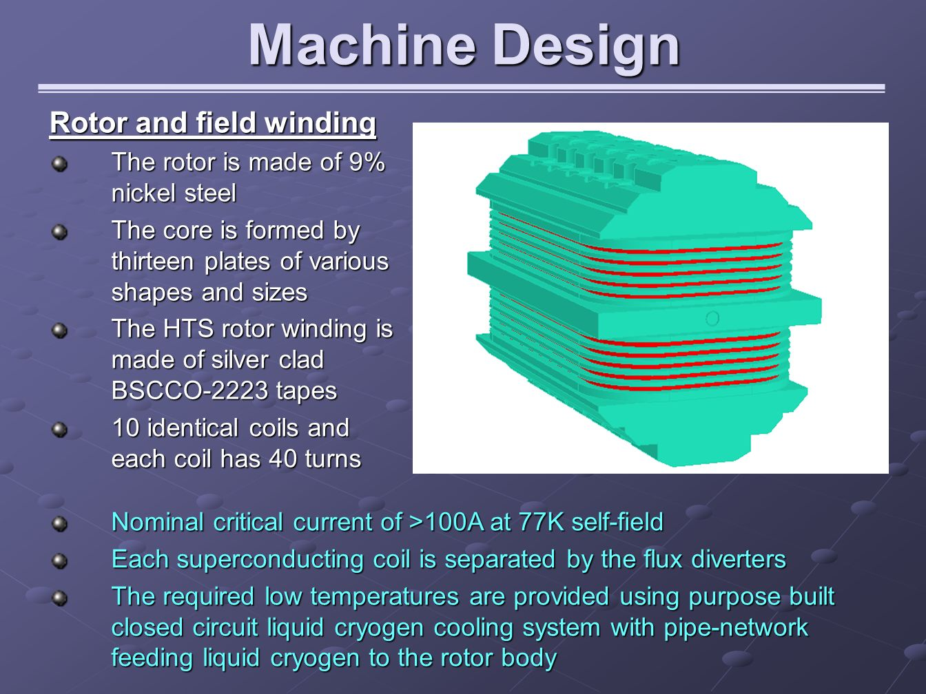 Machine Design Rotor and field winding