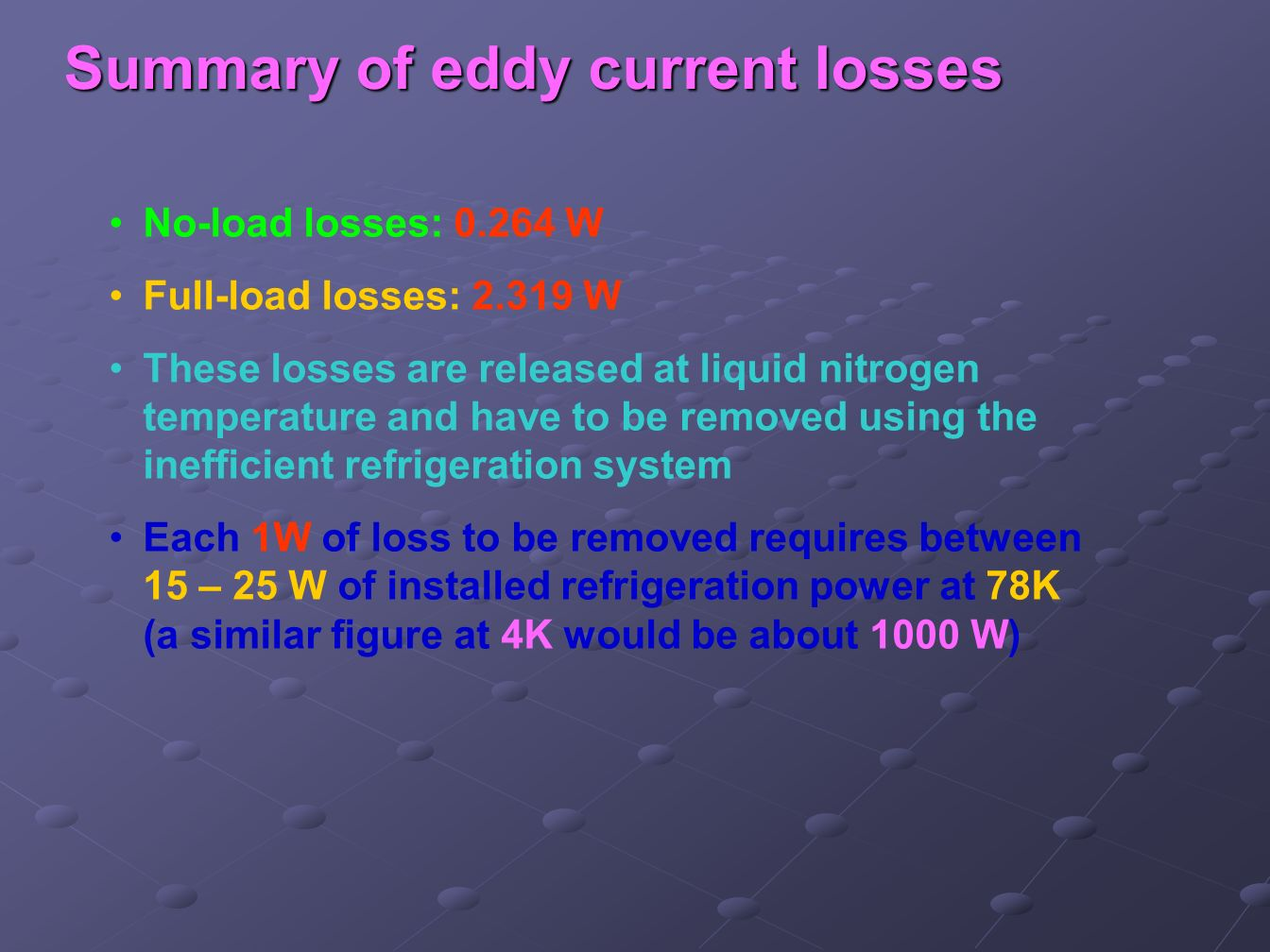 Summary of eddy current losses