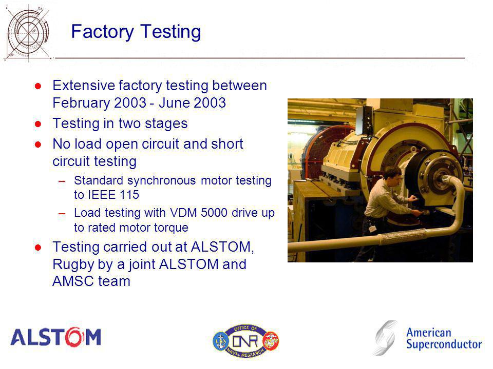 Factory Testing Extensive factory testing between February 2003 - June 2003. Testing in two stages.